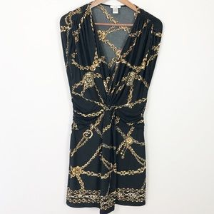 Cache black and gold sleeveless chain dress